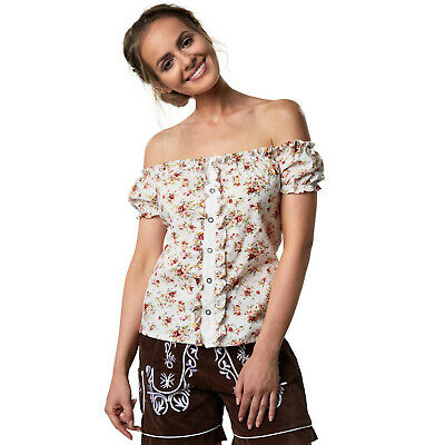 Woman Traditional German Blouse Oktoberfest Party Floral Short-Sleeved