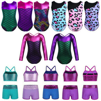 Girls Leopard Ballet Dance Leotards Gymnastics Mermaid Scales Dancewear Costumes