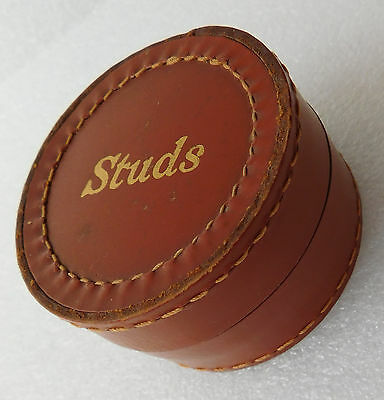 Vintage English leather stud box very good condition 1940s 1950s 1960s