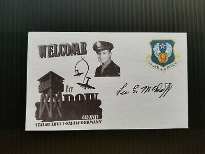 LEE E. McDUFF WWII P-47 STALAG LUFT 1 BARTH GERMANY AUTOGRAPHED 3X5 INDEX CARD