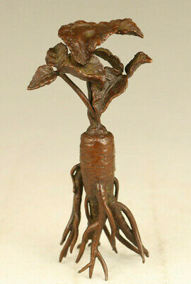 Chinese old red copper casting ginseng statue figure