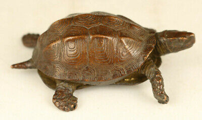 Chinese old red copper casting turtle statue figure