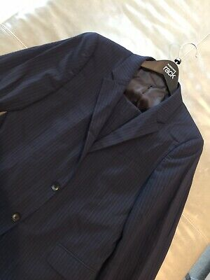 Theory Mens XYLO NP Marlo Waldorf Navy Striped Wool Suit 40R 32x31 $795