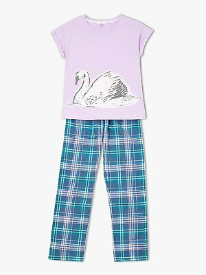 John Lewis Girls Swan Print Pyjamas Lilac/Blue 11 Years New With Defect Free P&P