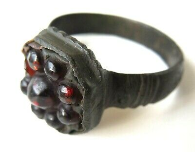Viking Bronze Finger Ring With Garnet In The Bezel Circa 750 Ad Rare!