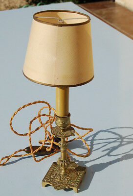 Antique Small Lamp, Foot Metal and Lampshade European Peacock Paper