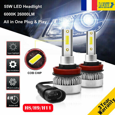 110W 26000LM H8/H9/H11 LED Ampoule Voiture Feux Lampe DRL Kit Phare Blanc 6000K