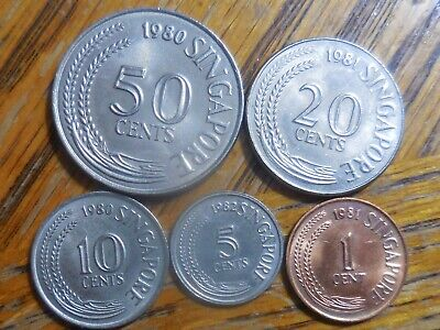 Early 1980's Medley of Singapore Coins: 50, 20,10, 5 and 1 cent coins (# 535)