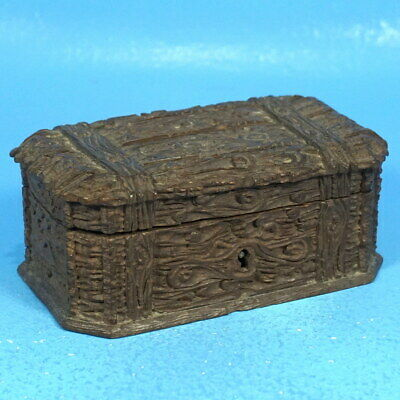 Antique Swiss Black Forest Wood Carving JEWELRY TRINKET BOX Trunk Chest Brienz