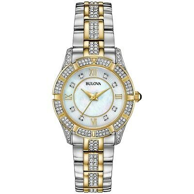 Bulova Women's 98L135 Quartz Crystal Accent Two-Tone Bracelet 30mm Watch