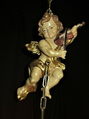 ANTIQUE DECO FRENCH ROSE GLASS SHADE CHERUB CHANDELIER CEILING FIXTURE 30's