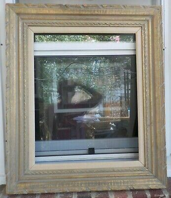 Vintage MCM MEXICAN Carved GOLD Taupe-Washed Frame 16 x 20 in.fit c1970s