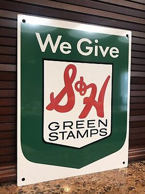 S&H Green Stamps metal sign baked Vintage style Reproduction