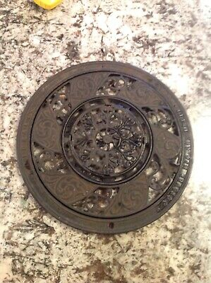 """Antique Ornate 15.5 Inches """" Cast Iron Round Floor Vent Grate Heat Stover Ideal"""