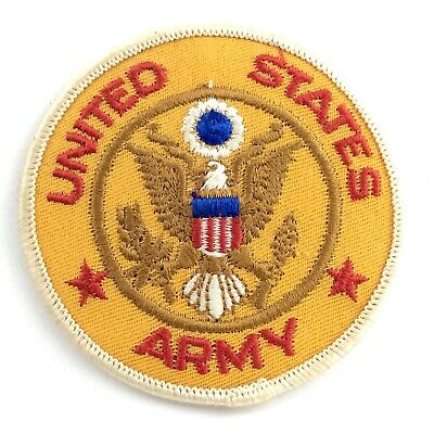 #2670 Lot 2Pcs Gold Military,United States Army Badge Embroidery Applique Patch