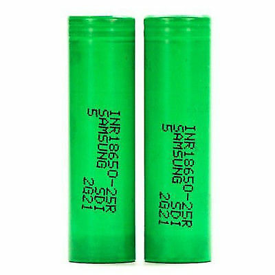 2x Samsung INR 18650 25R 20A 2500mAh Rechargeable Flat Top Mods 3.7V Battery