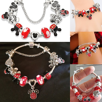 2019 European 925 Silver Charms Bracelet Silver Disney Mickey Minnie Beads GIFTS