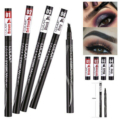 Eyebrow Pencil Waterproof 4 Head Fork Tip Tattoo Brow Enhancer Dye Tint Pen