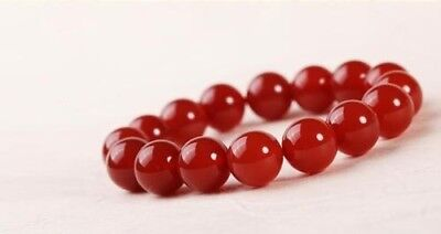 Fashion Natural Red Round jade Beads Powerful Elastic Bracelet All Size 6-16mm