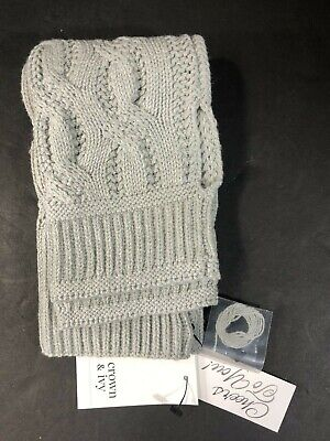 Womens Accessories Essentials Arm Warmers Crown & Ivy OS Knitted Light Gray NEW