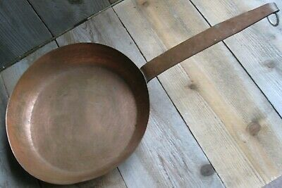 Vintage Farmhouse Solid Copper Skillet/Saute Pan Hand Hammered Rustic Patina