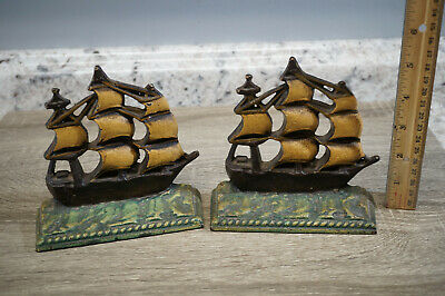 Vintage Cast Iron Sailing Galleon Pirate Ships Book Ends