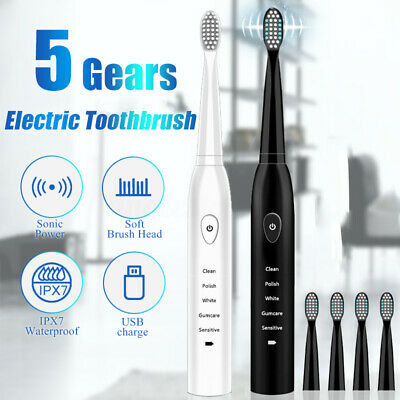 Waterproof 5 Modes Electric Mute Toothbrush Sonic Power USB Charge 4 Brush Heads