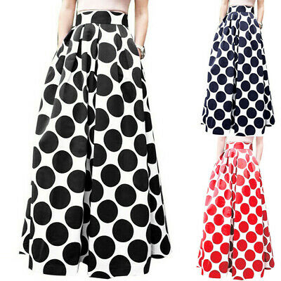 Fashion Womens Party Cocktail Dot Printed Skirt High Waist Long Ball Gown Skirts