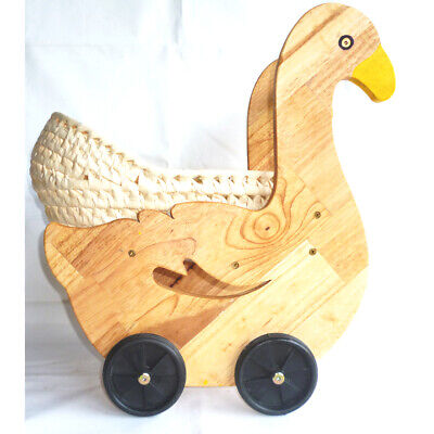 NEW Sturdy Gorgeous Duckling Doll Pram with Bedding for Little Girls, Non-toxic