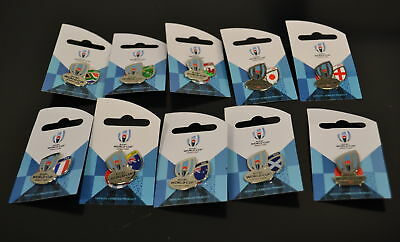NEW RWC2019 Rugby World Cup 2019 Japan Logo + Country Pin Badge Trophy +