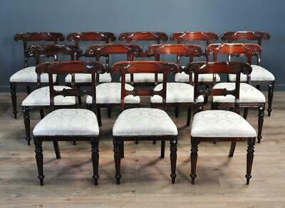 Large Set Of Twelve 12 Antique Style Reproduction Carved Mahogany Dining Chairs