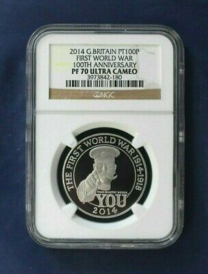 "2014 Platinum Proof 1oz £100 ""WWI Outbreak"" Graded PF70 in Case / COA   (AF3/1)"