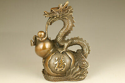 chinese old bronze casting dragon big statue figure