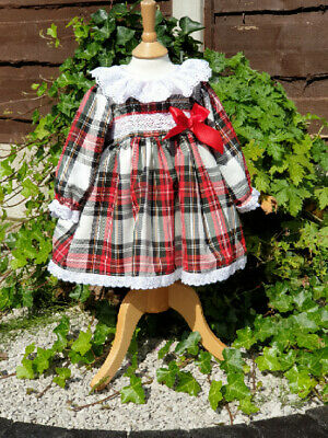 DREAM SPANISH TRADITIONAL RED WHITE BLUE TARTAN  DRESS 0-5 YEARS or reborn