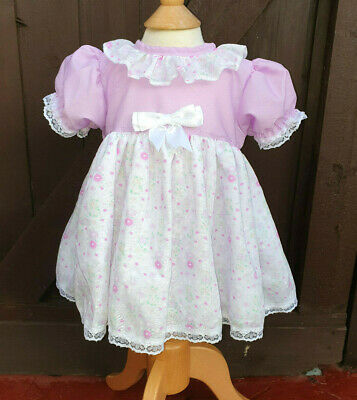 Dream 0-4 Years Baby Girls Mauve Floral Traditional  Dress Or Reborn Dolls