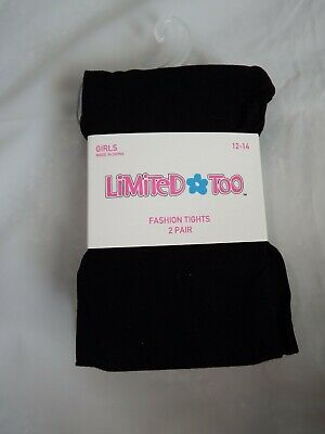 NEW 2 Pair Limited Too Girls Black Fasion Tights Size 12-14 NWT