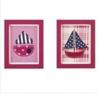 """Cocalo Baby Framed Art Set Two 8x10"""" Pieces NEW Hot Pink Navy Blue Sail Boats"""