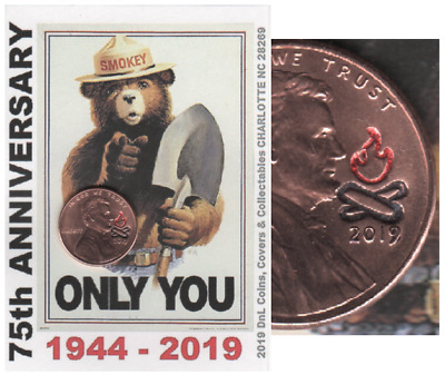 2019 Lincoln Cent SMOKEY BEAR 75th Anniversary Keepsake Collector Coin Card SB19