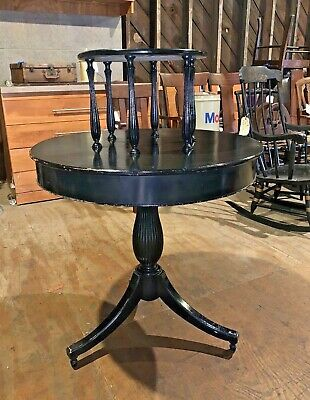 Antique Two-Tier Round Center Table Painted Black Vintage Furniture