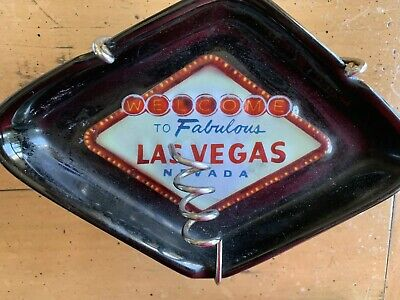 Welcome To Fabulous Las Vegas Black Ceramic Ashtray W/ Chrome Stand Mid Cent