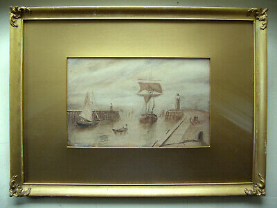 old original antique watercolour painting signed and dated 1918