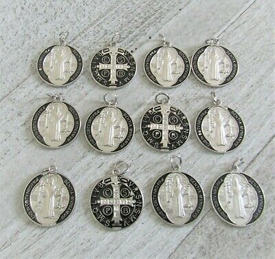 Lot 12 Saint St. Benedict Charms Holy Medals ~ Silver plate & Black