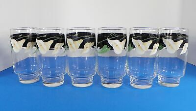 Sango Quadrille BLACK LILIES Glass 12-oz Drink Tumbler (s) LOT OF 6
