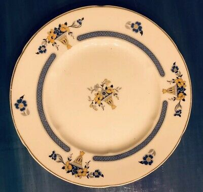 Antique WH Grindley China Dessert Plate Hutton Chelsea Ivory England Blue Yellow
