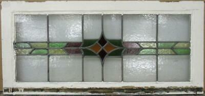 "OLD ENGLISH LEADED STAINED GLASS WINDOW TRANSOM Nice Geometric Band 32"" x 15"""