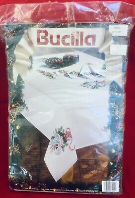 Bucilla Christmas Doves & Holly Tablecloth Kit 83059 Stamped Embroidery 60X90