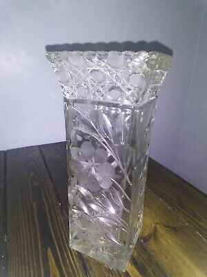 ABP Antique Very Tall And Heavy American Brilliant Cut Glass Crystal Vase Flower