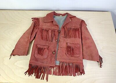 Child's Kid's Vintage Red Cowboy Leather Jacket W/ Fringe