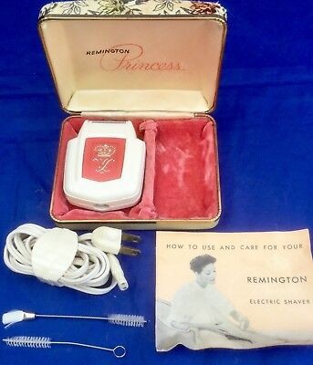 Lady Remington Princess Electric Shaver Pink Case Cleaning Brushes Info Works