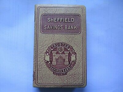 SHEFFIELD TRUSTEE SAVINGS BANK MONEY BOX ORIGINAL c1950s VINYL COVER on BRASS